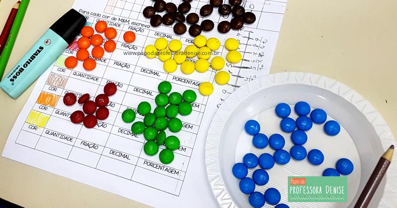Como calcular PORCENTAGEM com M&M brincando 8