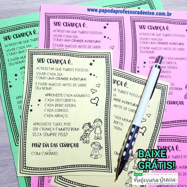 Bilhete para Agenda Dia da Criança 1