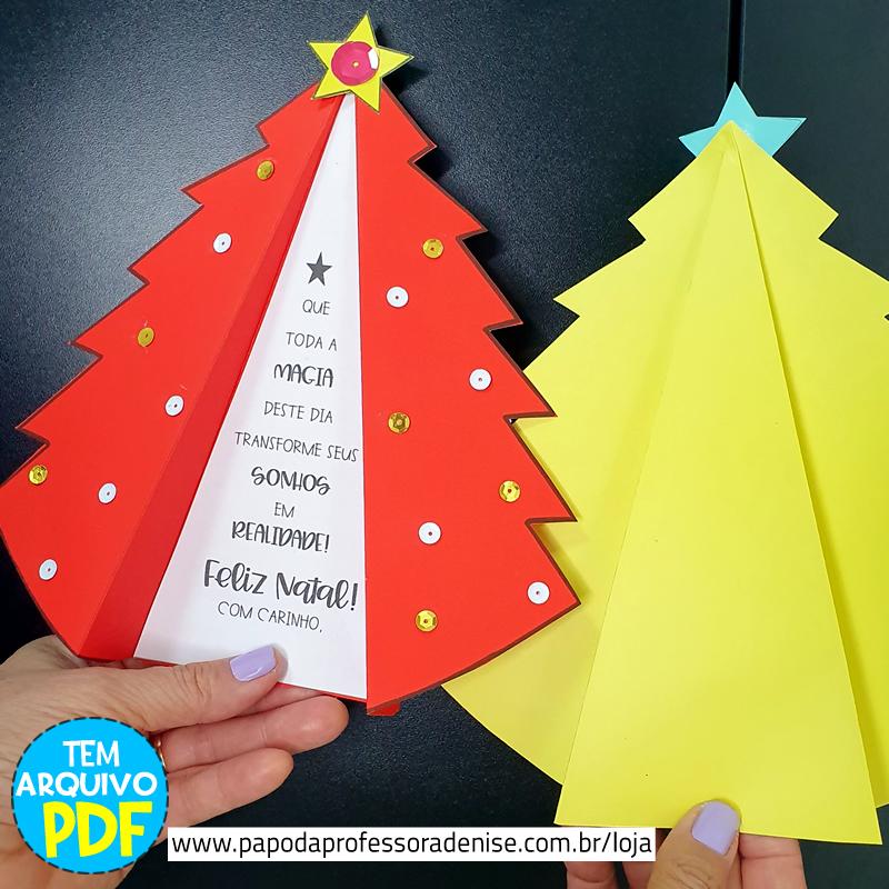 Cartao De Natal Arvore 3d Papo Da Professora Denise