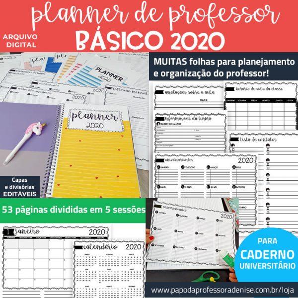 Planner de Professor 2020 - BÁSICO - CADERNO Decorado 1