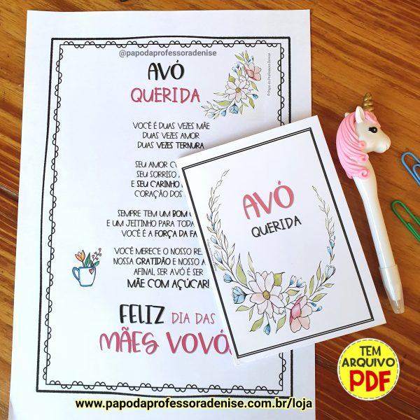 Cartão Avó Querida - Flores 1