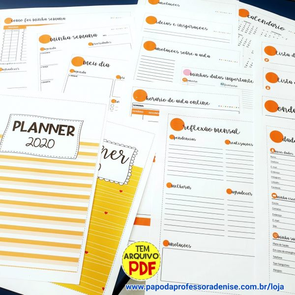 Agenda Planner Pessoal 2020 LARANJA 1