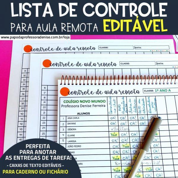 Lista de Controle para Aula Remota EDITÁVEL 1
