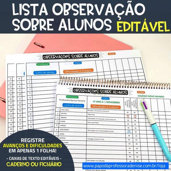 Lista de Observação de Alunos DIGITAL EDITÁVEL 1